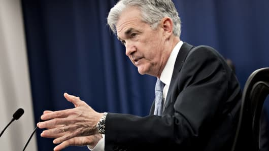 Jerome Powell, chairman of the U.S. Federal Reserve, speaks during a news conference following a Federal Open Market Committee (FOMC) meeting in Washington, D.C., U.S., on Wednesday, March 21, 2018