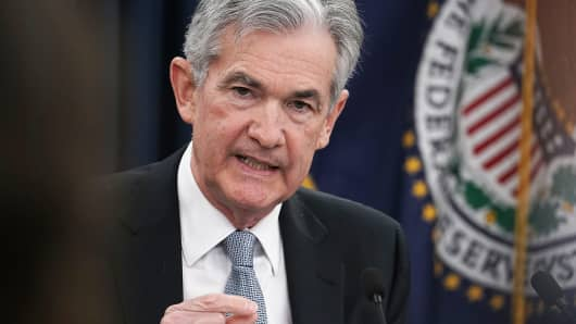 Federal Reserve Chairman Jerome Powell speaks during a news conference in Washington, DC.