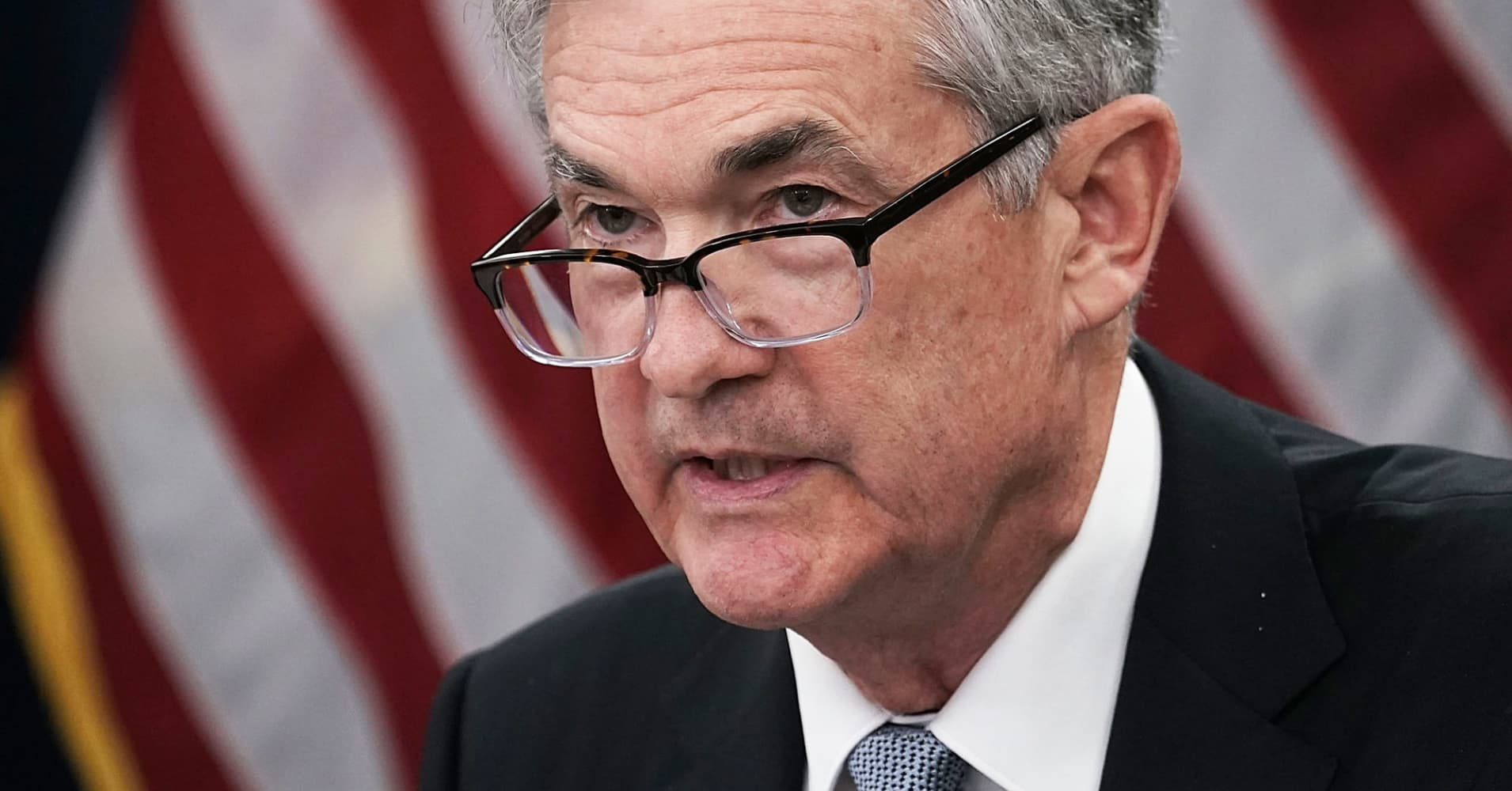 Federal Reserve Chairman Jerome Powell speaks during a news conference March 21, 2018 in Washington, DC.
