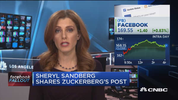 Sheryl Sandberg shares Zuckerberg's post, sentiment on data scandal