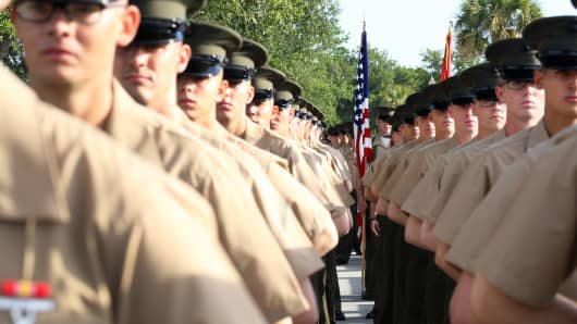 U.S. Marines during a graduation ceremony aboard Marine Corps Recruit Depot in Parris Island, S.C.