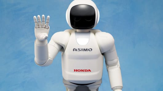 Honda's advanced humanoid robot ASIMO can walk independently and understand commands.