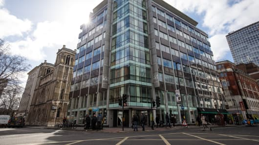 The U.K. headquarters of Cambridge Analytica on March 20, 2018, in London, England.