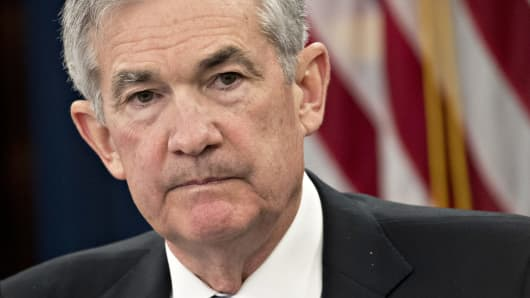 Jerome Powell, chairman of the U.S. Federal Reserve, pauses after speaking during a news conference following a Federal Open Market Committee (FOMC) meeting in Washington, D.C., U.S., on Wednesday, March 21, 2018.