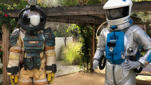 Space suits during the Mars conference at the Parker Palm Springs hotel in Palm Springs, Calif., March 20, 2018.