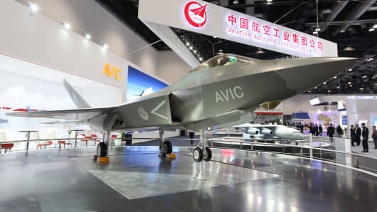 Shenyang J-31 Gyrfalcon model exhibits on the Aviation Expo China.