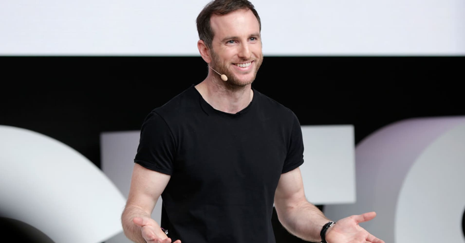 Joe Gebbia speaks on stage during #BoFVOICES on November 30, 2017 in Oxfordshire, England