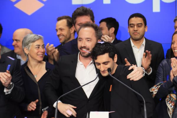Drew Houston and Arash Ferdowsi at the Nasdaq market site during the Dropbox IPO, March 23, 2018.