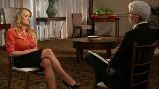 Stormy Daniels in her interview with Anderson Cooper to be broadcast on 60 MINUTES Sunday, March 25.