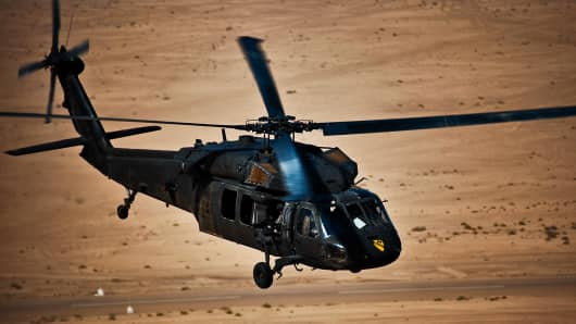 A U.S. Army Black Hawk helicopter.