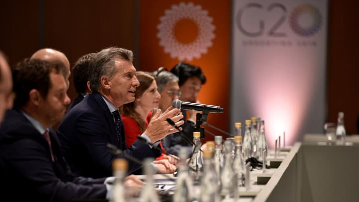 Argentina's President Mauricio Macri speaks at the G-20 meeting of finance ministers in Buenos Aires, Argentina, March 20, 2018.