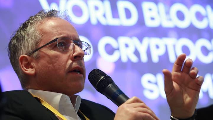 Mattia L. Rattaggi of the Crypto Valley Asosciation speaks at the World Blockchain and Cryptocurrensy Summit.