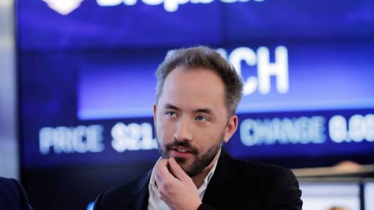 Dropbox Inc. co-founder Drew Houston waits as Dropbox (DBX) is listed for the company's initial public offering (IPO) at the Nasdaq Market Site in New York, U.S., March 23, 2018.