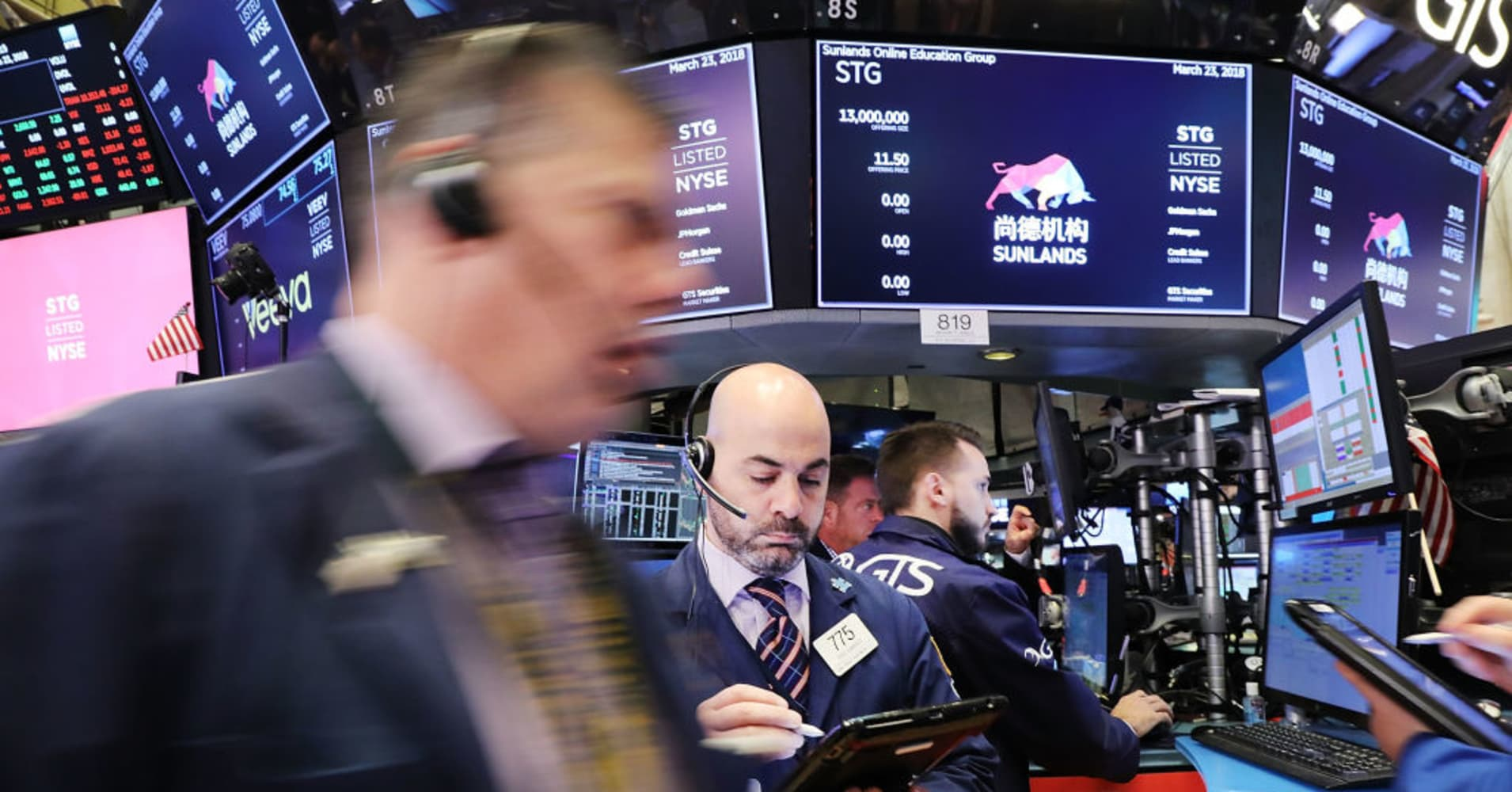 Dow tanks more than 450 points, Amazon leads tech lower