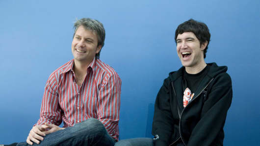 MySpace co-founders Chris DeWolfe (left) and Tom Anderson (right) pose for photos in the Myspace headquarters in 2007.