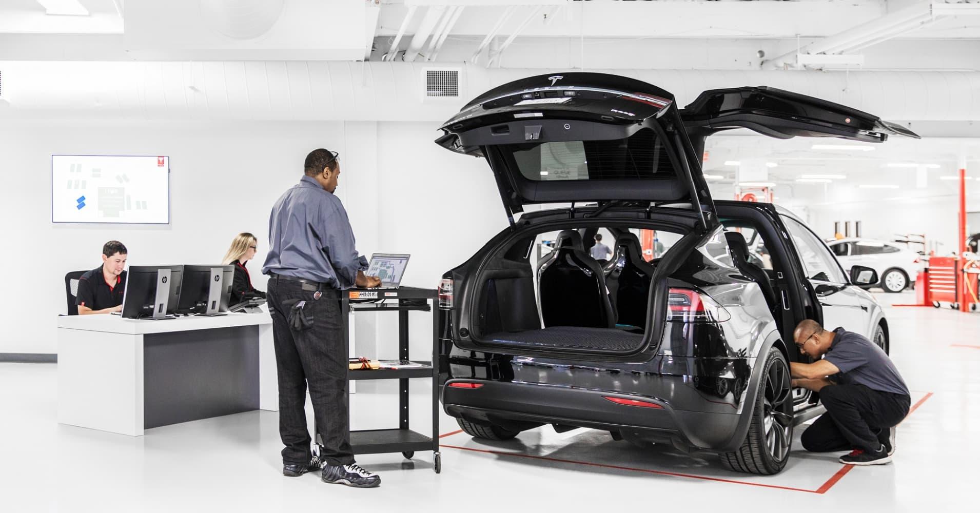 A Tesla service center