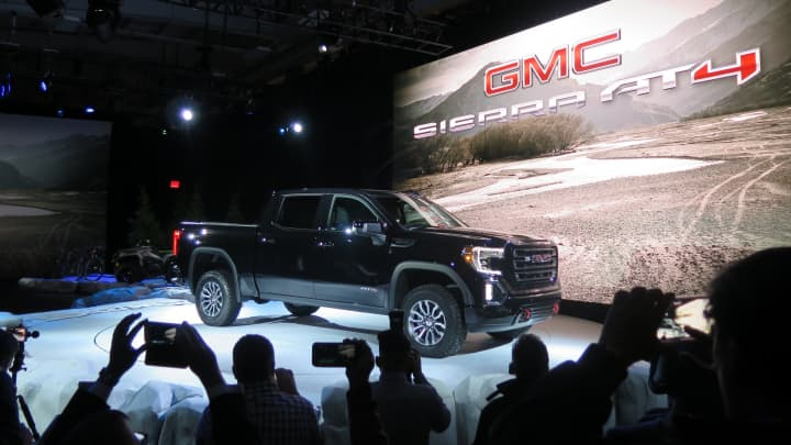 The GMC Sierra AT4, the first of several models that will offer the off-road package. GMC is aiming the truck at customers who want a more premium pickup with off-road kit such as a locking rear differential and a 2-inch lift right off the shelf.