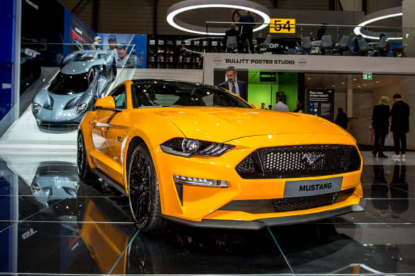 Ford Mustang is displayed at the 88th Geneva International Motor Show on March 7, 2018 in Geneva, Switzerland.