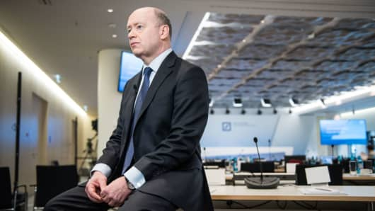 John Cryan, CEO of German bank Deutsche Bank, pictured during an interview after the press conference over the company's 2017 preliminary financial results on February 2, 2018 in Frankfurt, Germany.