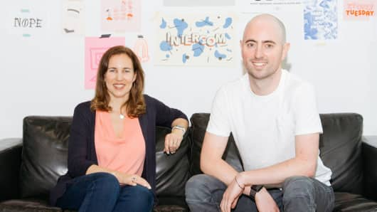 Intercom COO Karen Peacock and CEO and Co-founder Eoghan McCabe pose for a portrait.