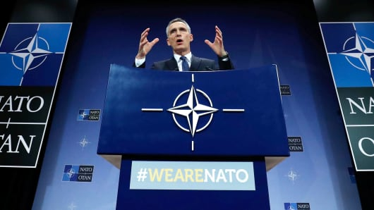 NATO Secretary-General Jens Stoltenberg addresses a news conference at the Alliance headquarters in Brussels, Belgium, March 15, 2018.