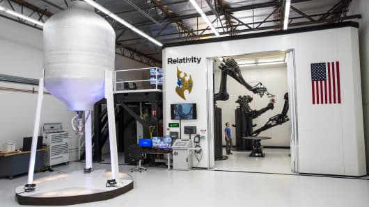 The Stargate 3D printer at Relativity Space's facility in Los Angeles, CA.