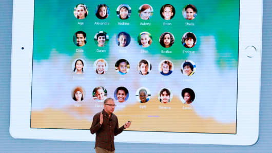 Apple's Greg Joswiak speaks at Lane Tech College Prep High School in Chicago, Illinois on March 27, 2018.