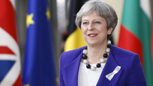 Britain's Prime Minister Theresa May arrives at a European Union leaders summit in Brussels, Belgium, March 22, 2018.