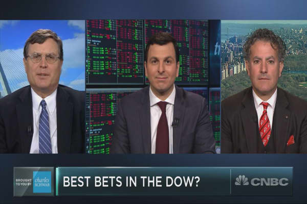 The only two positive Dow stocks since the market top have something in common