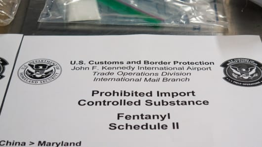 Fentanyl seized at a postal facility.