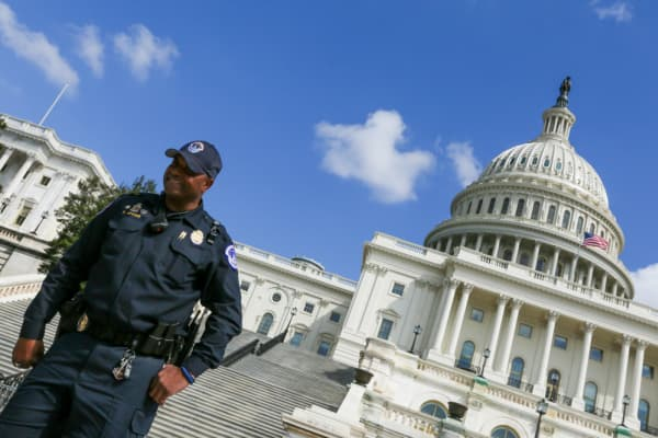 A Capitol Policeman stands outside the U.S. Capitol Building in Washington, D.C.