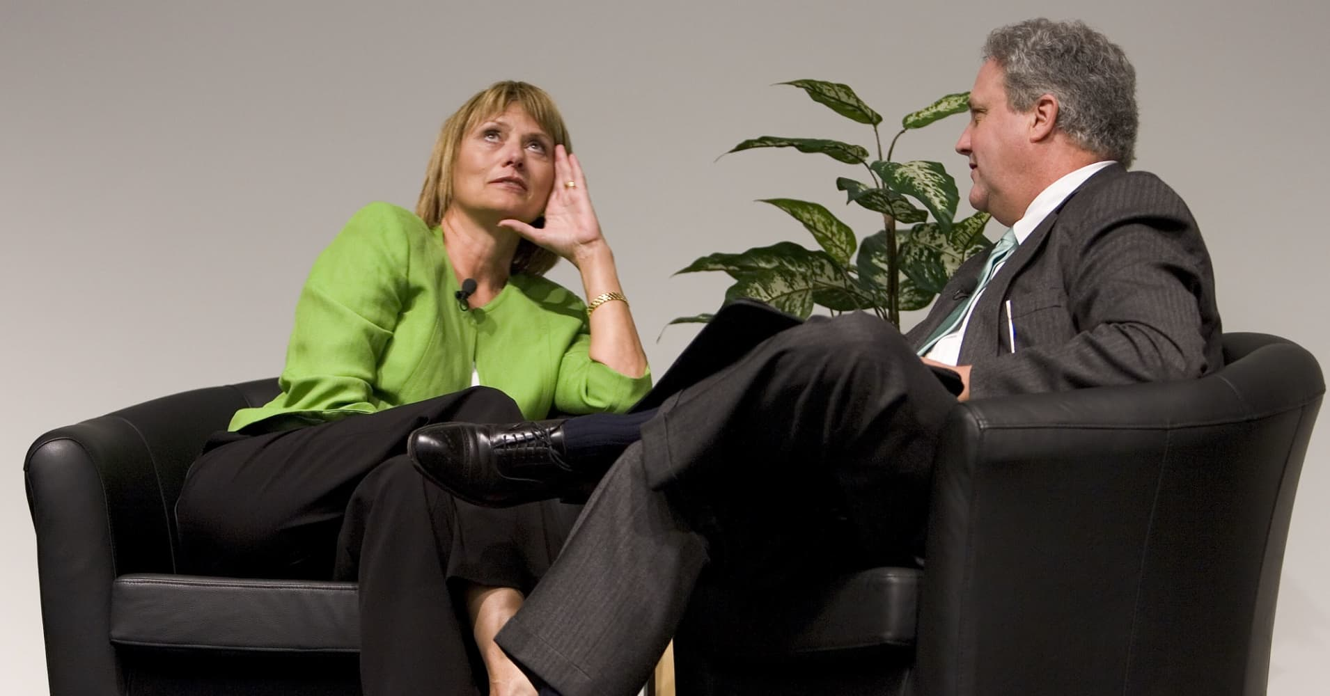Carol Bartz, then Autodesk CEO, sits with Silicon Valley author and journalist Michael Malone on September 13, 2005.