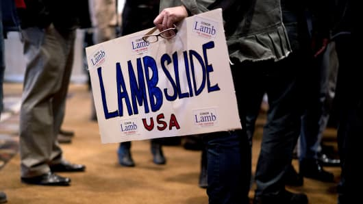 An attendee holds a handmade 'Lambslide' sign during an election night rally for Conor Lamb, Democratic candidate for the U.S. House of Representatives, not pictured, in Canonsburg, Pennsylvania, U.S., on Tuesday, March 13, 2018.