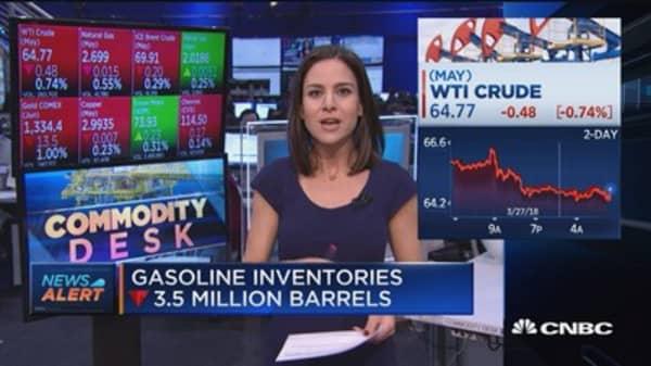 Crude oil inventories up 1.6 million barrels