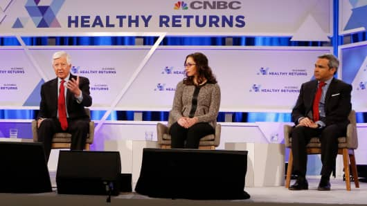 "Bill George, Julie Grant and Faisal Mushtaq take part in a panel discussion on ""What Will Amazon Do?"" during the CNBC Healthy Returns conference in New York on March 28th, 2018."