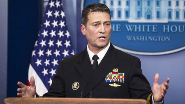 Ronny Jackson, physician for U.S. President Donald Trump, speaks during a White House press briefing in Washington D.C., U.S., on Tuesday, Jan. 16, 2018.