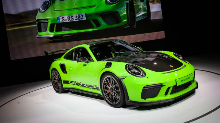 2019 Porsche 911 GT3 RS on display at the 2018 New York International Auto Show.