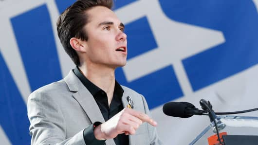 Marjory Stoneman Douglas High School student David Hogg speaks onstage at March For Our Lives on March 24, 2018 in Washington, DC.