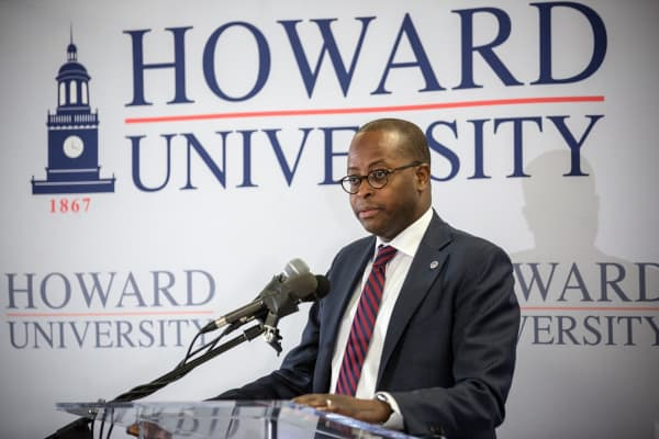 Wayne Frederick, President of Howard University, at a press conference in 2016.