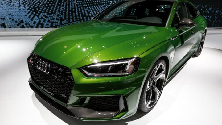 The Audi RS 5 on display at the New York International Auto Show.
