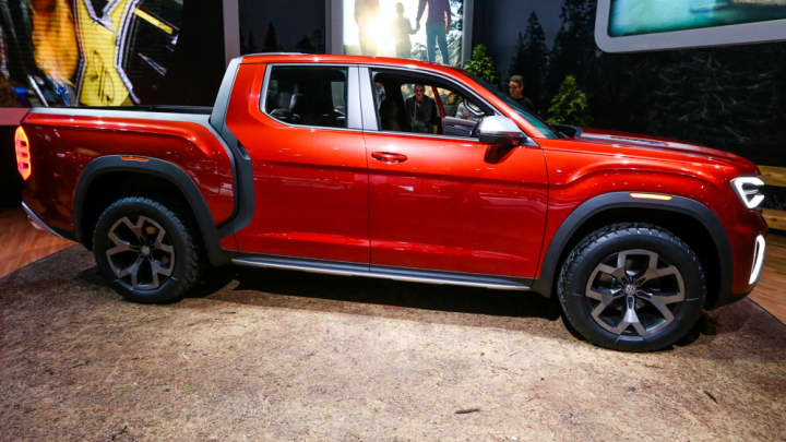Volkswagen concept pickup truck on display at the 2018 New York International Auto Show.