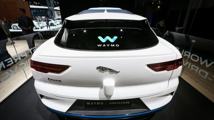 A Jaguar Waymo self-driving vehicle on display at the 2018 New York International Auto Show.