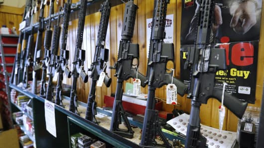 A file photo of semi-automatic AR-15's for sale in Orem, Utah.