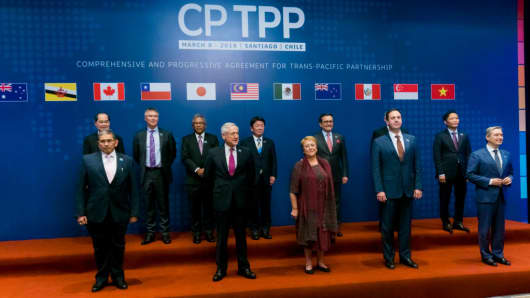 The 11 country representatives that signed the CPTP deal on March 08, 2018 in Santiago, Chile.