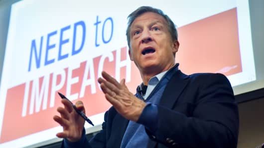 Tom Steyer holds one of his Need to Impeach town hall meetings on March 20, 2018, in Largo, Md.