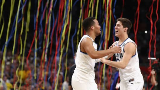 The Villanova Wildcats celebrate winning the 2018 NCAA Men's Final Four National Championship game at the Alamodome on April 2, 2018 in San Antonio, Texas.