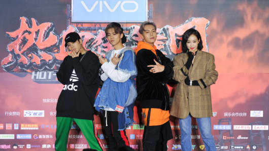 "Singer Jackson Wang, singer Lu Han, actor William Chan and singer and actress Victoria Song attend the press conference for ""Hot Blood Dance Crew"" on Jan. 23, 2018, in Shanghai, China."
