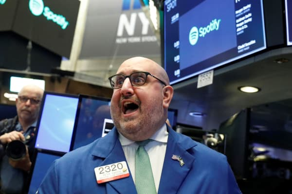 A trader during the Spotify IPO at the New York Stock Exchange, April 3, 2018.