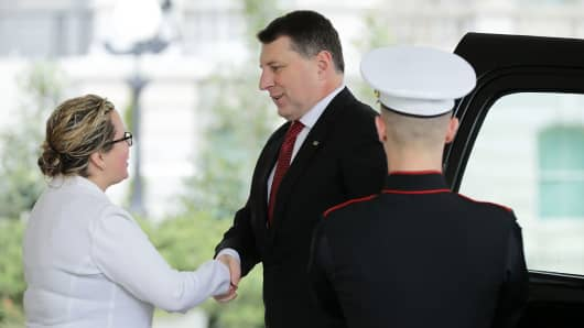 Latvian President Raimonds Vejonis arrives at the White House before meetings with U.S. President Donald Trump and his Baltic counterparts April 3, 2018 in Washington, DC.