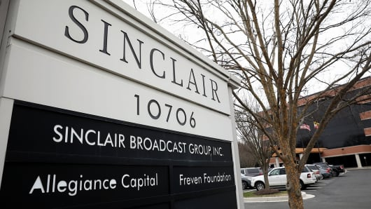 The headquarters of the Sinclair Broadcast Group is shown April 3, 2018 in Hunt Valley, Maryland.